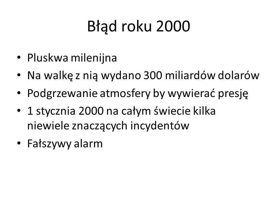 Błąd roku 2000 Pluskwa milenijna Na walkę z nią wydano 300 miliardów dolarów Podgrzewanie atmosfery by wywierać presję 1 stycznia 2000 na całym świecie kilka niewiele znaczących incydentów Fałszywy alarm
