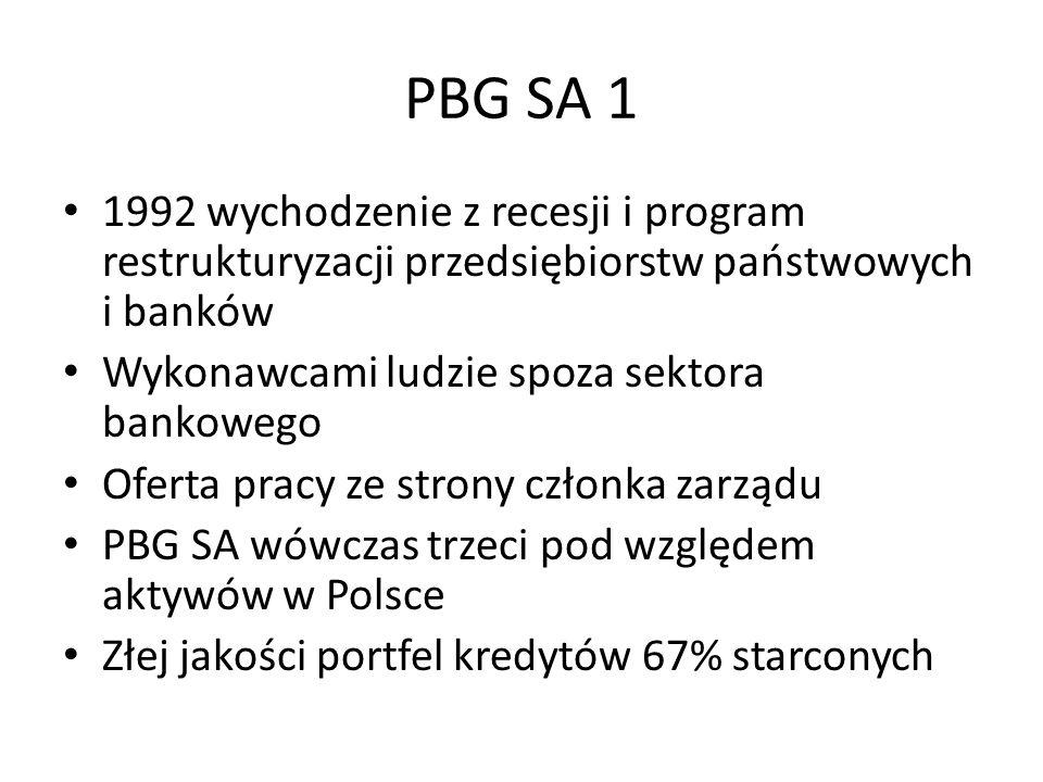 PBG SA 1 1992 wychodzenie z recesji i program restrukturyzacji przedsiębiorstw państwowych i banków Wykonawcami ludzie spoza sektora bankowego Oferta pracy ze strony członka zarządu PBG SA wówczas trzeci pod względem aktywów w Polsce Złej jakości portfel kredytów 67% starconych