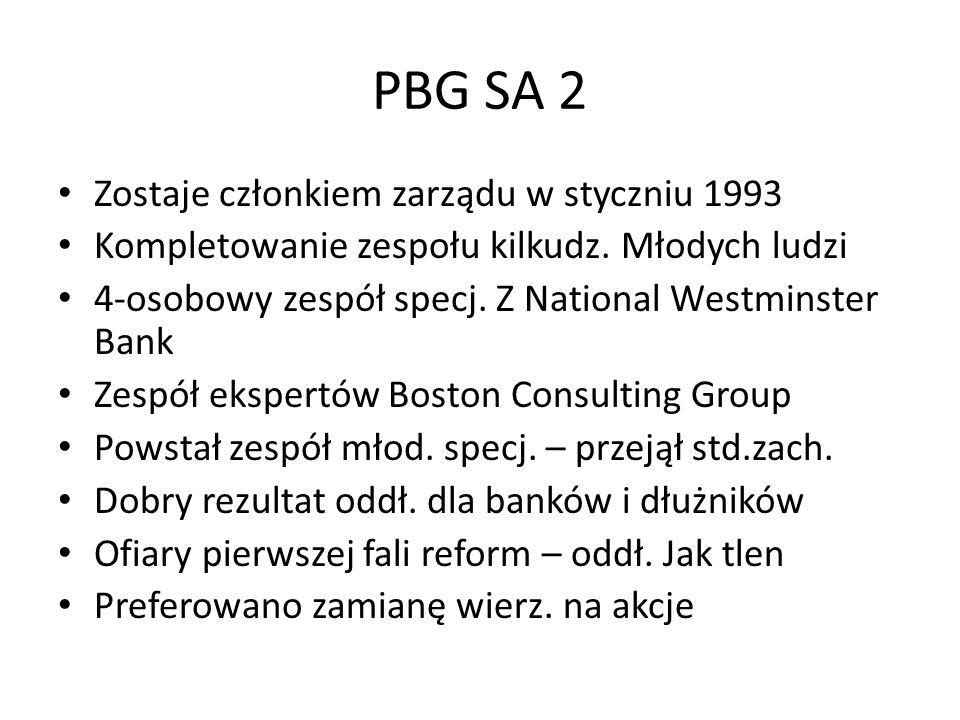 PBG SA 2 Zostaje członkiem zarządu w styczniu 1993 Kompletowanie zespołu kilkudz.