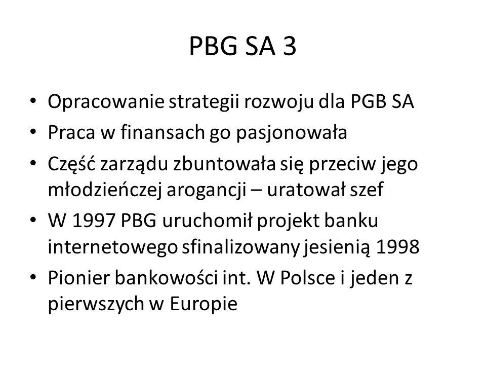 konsolidacje Decyzja polityczna o konsolidacji z PeKaO SA Uważał, że sprzedaż zaraz po konsolidacji będzie niekorzystna Już wkrótce próby wrogich przejęć Deutsche bank wystapił przeciw portugalskiemu Banco Commercial Portugues w walce o BIG BANK Gdański Prywatyzując PekaO SA sprzedano duży udział w rynku zamiast kilku konkurencyjnych banków