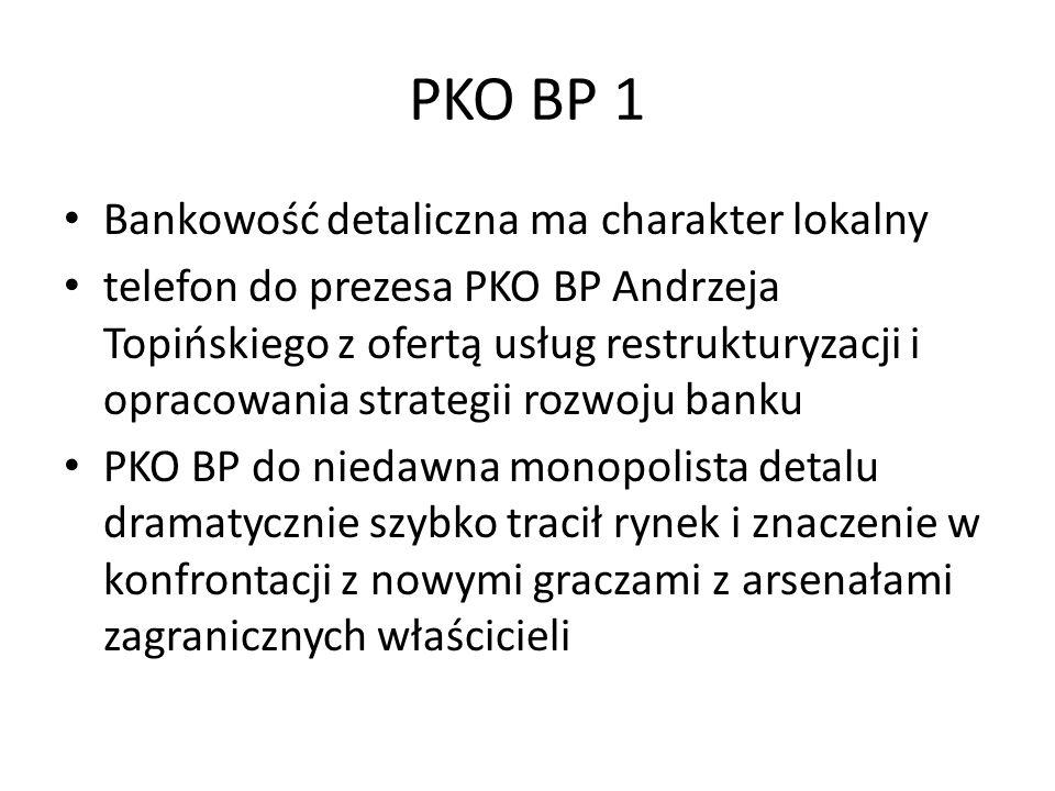PKO BP 1 Bankowość detaliczna ma charakter lokalny telefon do prezesa PKO BP Andrzeja Topińskiego z ofertą usług restrukturyzacji i opracowania strategii rozwoju banku PKO BP do niedawna monopolista detalu dramatycznie szybko tracił rynek i znaczenie w konfrontacji z nowymi graczami z arsenałami zagranicznych właścicieli