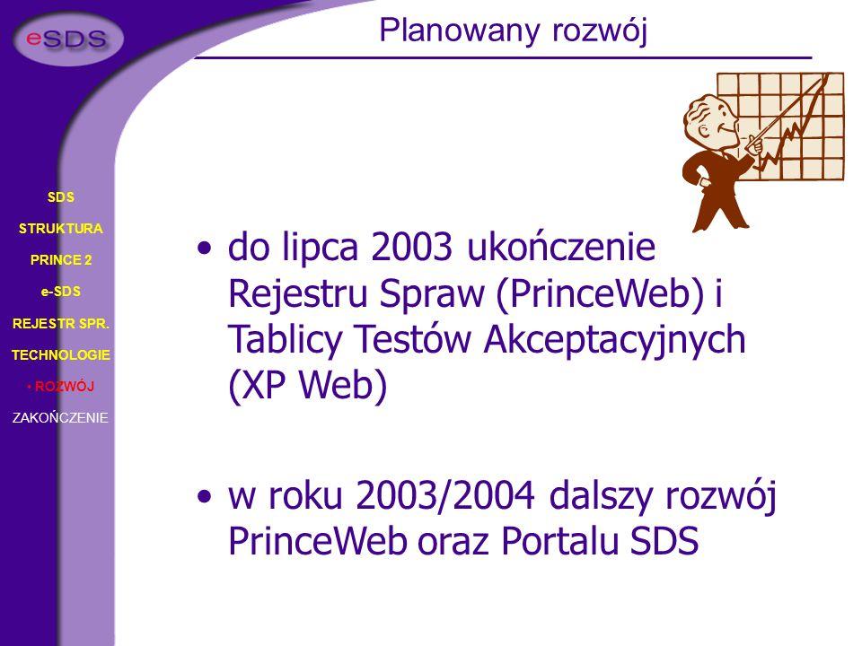 SDS STRUKTURA PRINCE 2 e-SDS REJESTR SPR. TECHNOLOGIE ROZWÓJ ZAKOŃCZENIE do lipca 2003 ukończenie Rejestru Spraw (PrinceWeb) i Tablicy Testów Akceptac