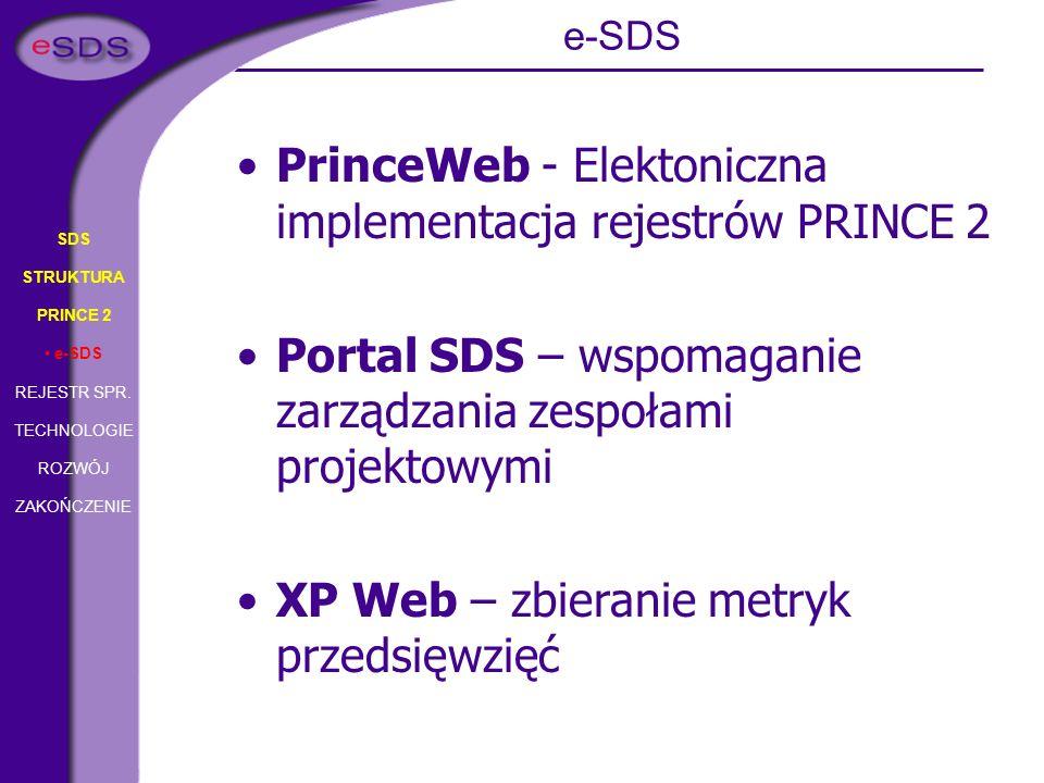 SDS STRUKTURA PRINCE 2 e-SDS REJESTR SPR. TECHNOLOGIE ROZWÓJ ZAKOŃCZENIE PrinceWeb - Elektoniczna implementacja rejestrów PRINCE 2 Portal SDS – wspoma