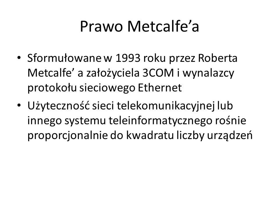 Prawo Metcalfea Sformułowane w 1993 roku przez Roberta Metcalfe a założyciela 3COM i wynalazcy protokołu sieciowego Ethernet Użyteczność sieci telekomunikacyjnej lub innego systemu teleinformatycznego rośnie proporcjonalnie do kwadratu liczby urządzeń