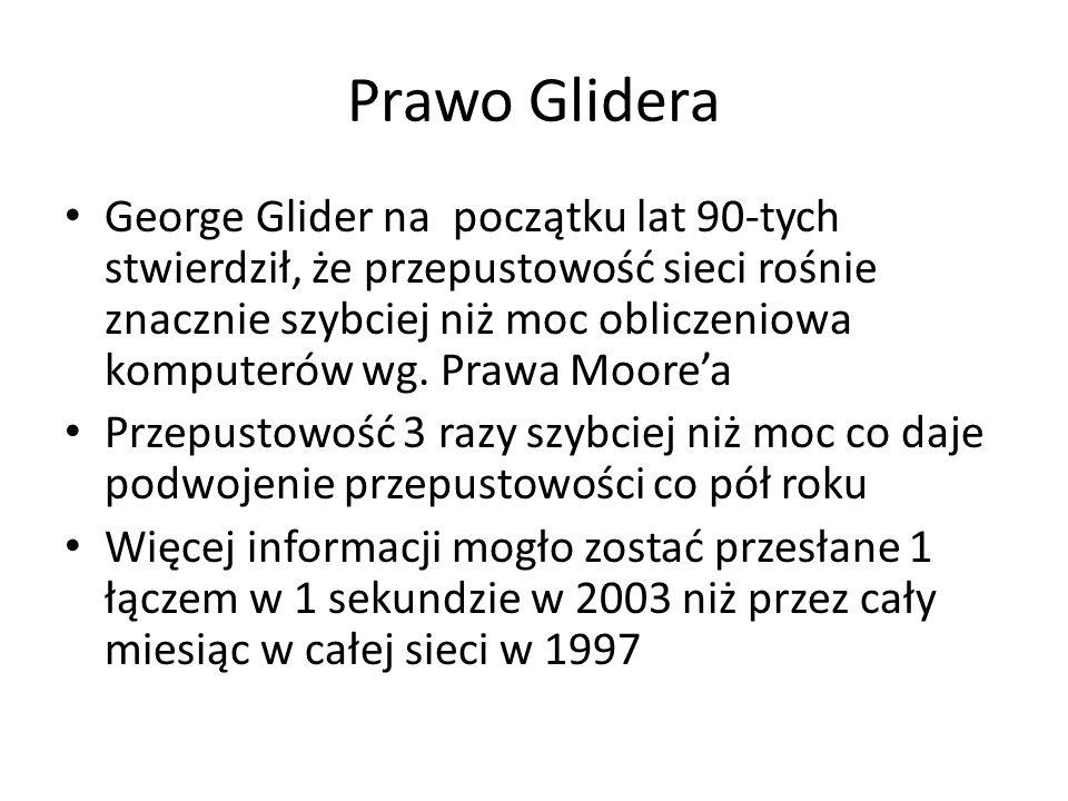 Prawo Glidera George Glider na początku lat 90-tych stwierdził, że przepustowość sieci rośnie znacznie szybciej niż moc obliczeniowa komputerów wg.