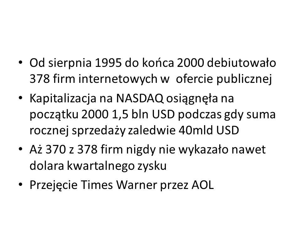 Od sierpnia 1995 do końca 2000 debiutowało 378 firm internetowych w ofercie publicznej Kapitalizacja na NASDAQ osiągnęła na początku 2000 1,5 bln USD podczas gdy suma rocznej sprzedaży zaledwie 40mld USD Aż 370 z 378 firm nigdy nie wykazało nawet dolara kwartalnego zysku Przejęcie Times Warner przez AOL