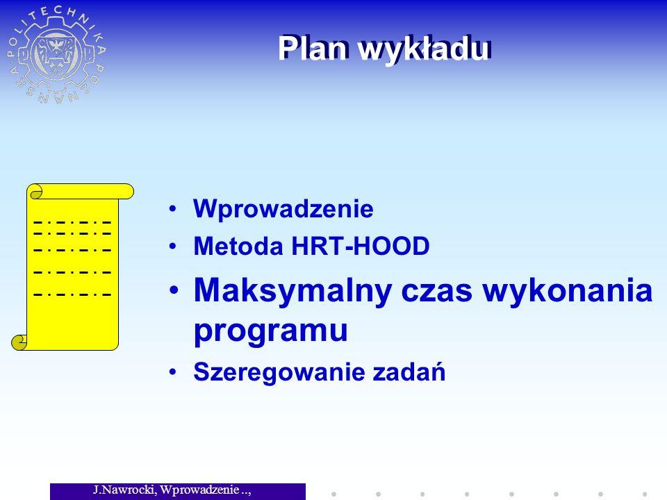 J.Nawrocki, Wprowadzenie.., Wykład 8 Plan wykładu Wprowadzenie Metoda HRT-HOOD Maksymalny czas wykonania programu Szeregowanie zadań