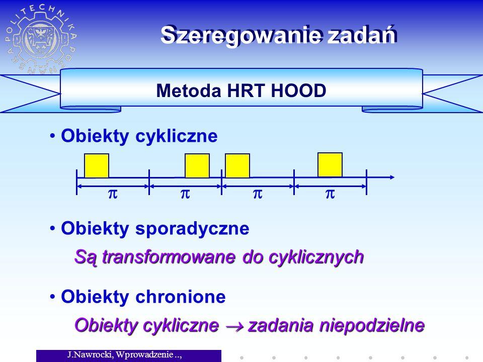 J.Nawrocki, Wprowadzenie.., Wykład 8 Szeregowanie zadań Obiekty cykliczne Obiekty sporadyczne Obiekty chronione Są transformowane do cyklicznych Obiekty cykliczne zadania niepodzielne Metoda HRT HOOD