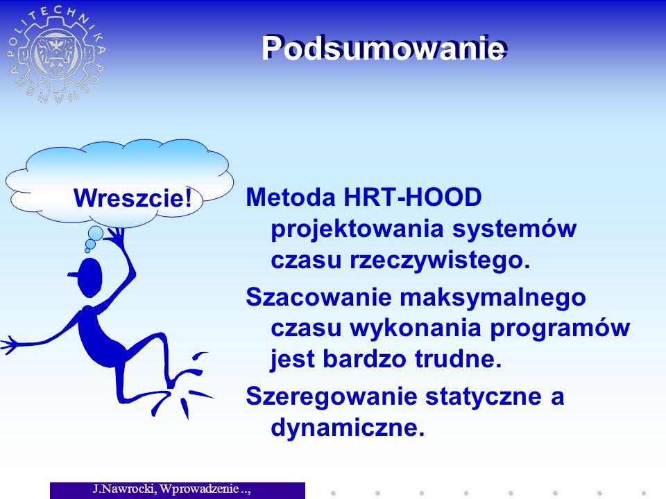 J.Nawrocki, Wprowadzenie.., Wykład 8 Podsumowanie Metoda HRT-HOOD projektowania systemów czasu rzeczywistego.