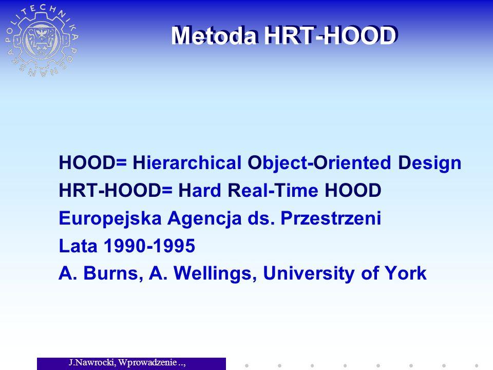 J.Nawrocki, Wprowadzenie.., Wykład 8 Metoda HRT-HOOD HOOD= Hierarchical Object-Oriented Design HRT-HOOD= Hard Real-Time HOOD Europejska Agencja ds.