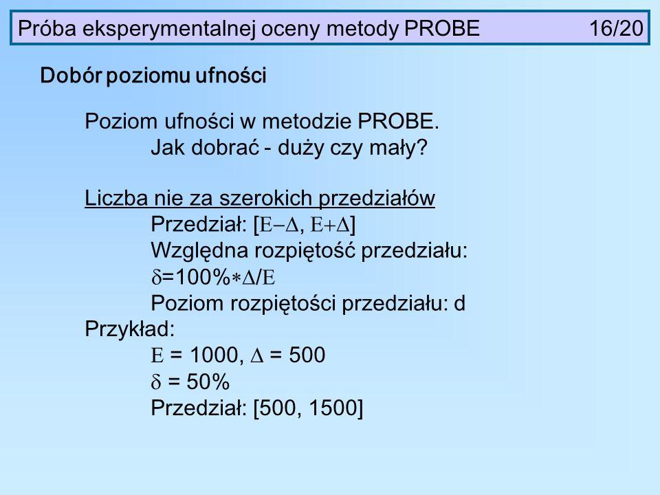 Dobór poziomu ufności Próba eksperymentalnej oceny metody PROBE 16/20 Poziom ufności w metodzie PROBE. Jak dobrać - duży czy mały? Liczba nie za szero