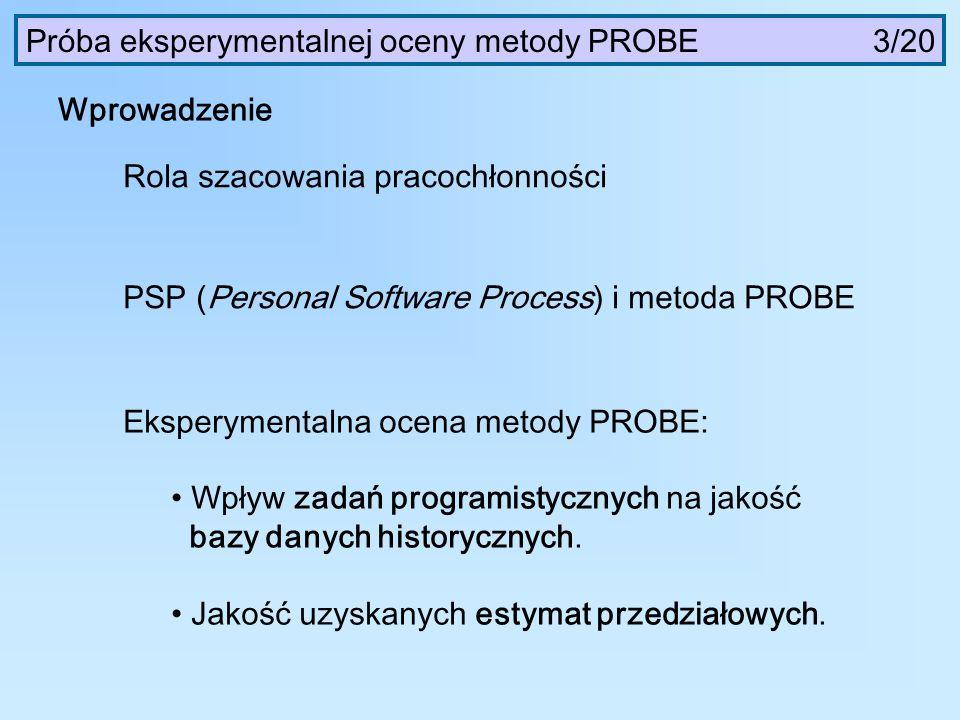 Wprowadzenie Rola szacowania pracochłonności PSP (Personal Software Process) i metoda PROBE Eksperymentalna ocena metody PROBE: Wpływ zadań programist