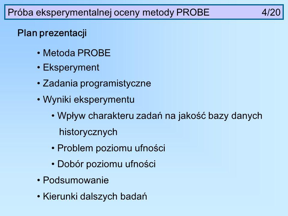 Próba eksperymentalnej oceny metody PROBE 4/20 Plan prezentacji Metoda PROBE Eksperyment Zadania programistyczne Wyniki eksperymentu Wpływ charakteru