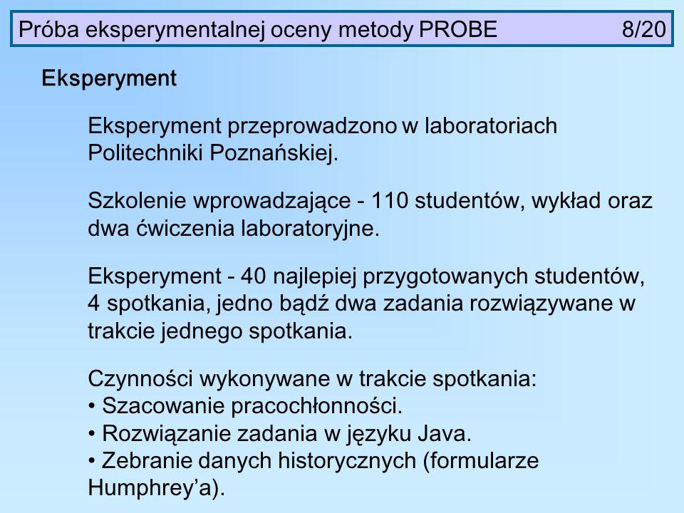 Eksperyment Eksperyment przeprowadzono w laboratoriach Politechniki Poznańskiej. Szkolenie wprowadzające - 110 studentów, wykład oraz dwa ćwiczenia la