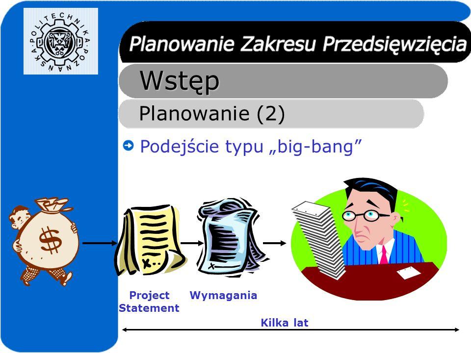Wstęp Planowanie (3) Podejście XP Gra planistyczna Przedstawiciel klienta Twórcy systemu Historyjki użytkownika Oszacowania Ew.