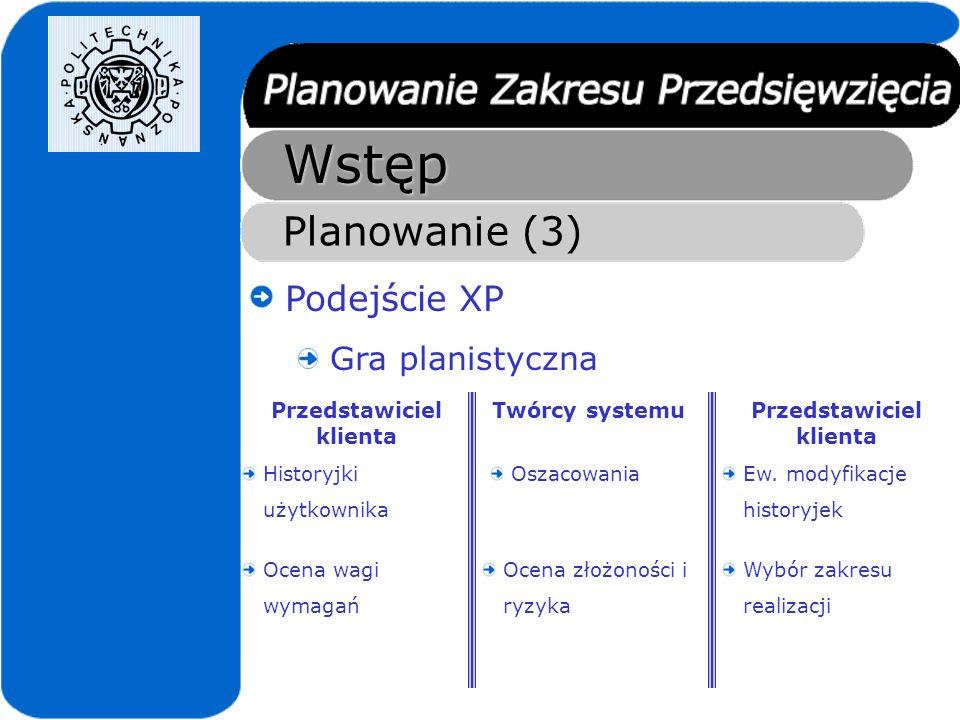 Planowanie w CŻO Charakterystyka przedsięwzięć Zapewnienie krótkiego sprzężenia zwrotnego, pomiędzy zespołem projektowym, a reprezentantami klienta (XP) Uwzględnienie konieczności dokumentowania wymagań użytkownika (podejście klasyczne)