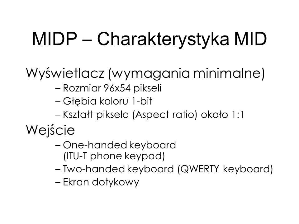 MIDP – Charakterystyka MID Wyświetlacz (wymagania minimalne) –Rozmiar 96x54 pikseli –Głębia koloru 1-bit –Kształt piksela (Aspect ratio) około 1:1 Wej