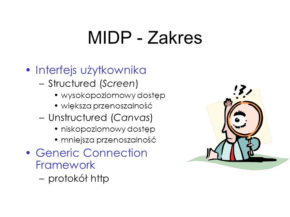 MIDP - Zakres Interfejs użytkownika –Structured (Screen) wysokopoziomowy dostęp większa przenoszalność –Unstructured (Canvas) niskopoziomowy dostęp mn