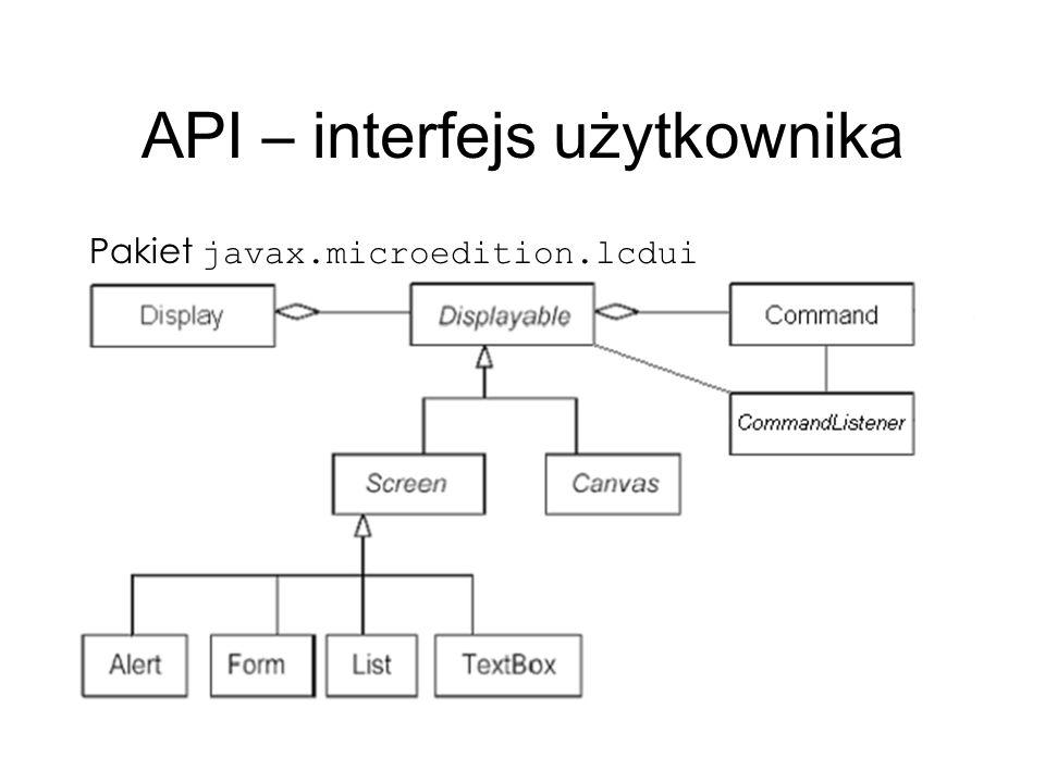 API – interfejs użytkownika Pakiet javax.microedition.lcdui
