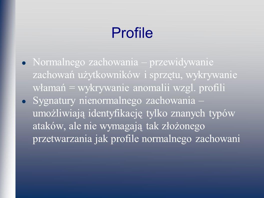 Profile Normalnego zachowania – przewidywanie zachowań użytkowników i sprzętu, wykrywanie włamań = wykrywanie anomalii wzgl.