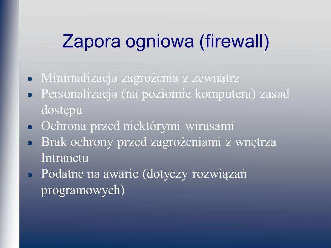 Zapora ogniowa (firewall) Minimalizacja zagrożenia z zewnątrz Personalizacja (na poziomie komputera) zasad dostępu Ochrona przed niektórymi wirusami Brak ochrony przed zagrożeniami z wnętrza Intranetu Podatne na awarie (dotyczy rozwiązań programowych)