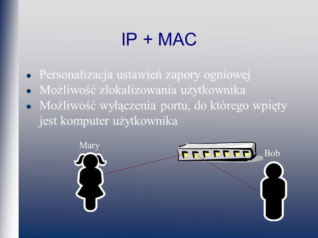 IP + MAC Personalizacja ustawień zapory ogniowej Możliwość zlokalizowania użytkownika Możliwość wyłączenia portu, do którego wpięty jest komputer użytkownika Mary Bob