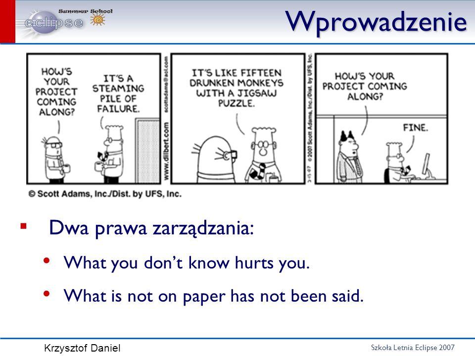Szkoła Letnia Eclipse 2007 Krzysztof Daniel Wprowadzenie Dwa prawa zarządzania: What you dont know hurts you. What is not on paper has not been said.