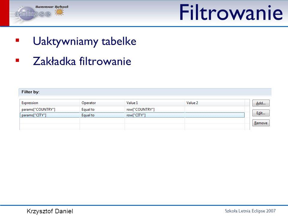Szkoła Letnia Eclipse 2007 Krzysztof Daniel Filtrowanie Uaktywniamy tabelke Zakładka filtrowanie