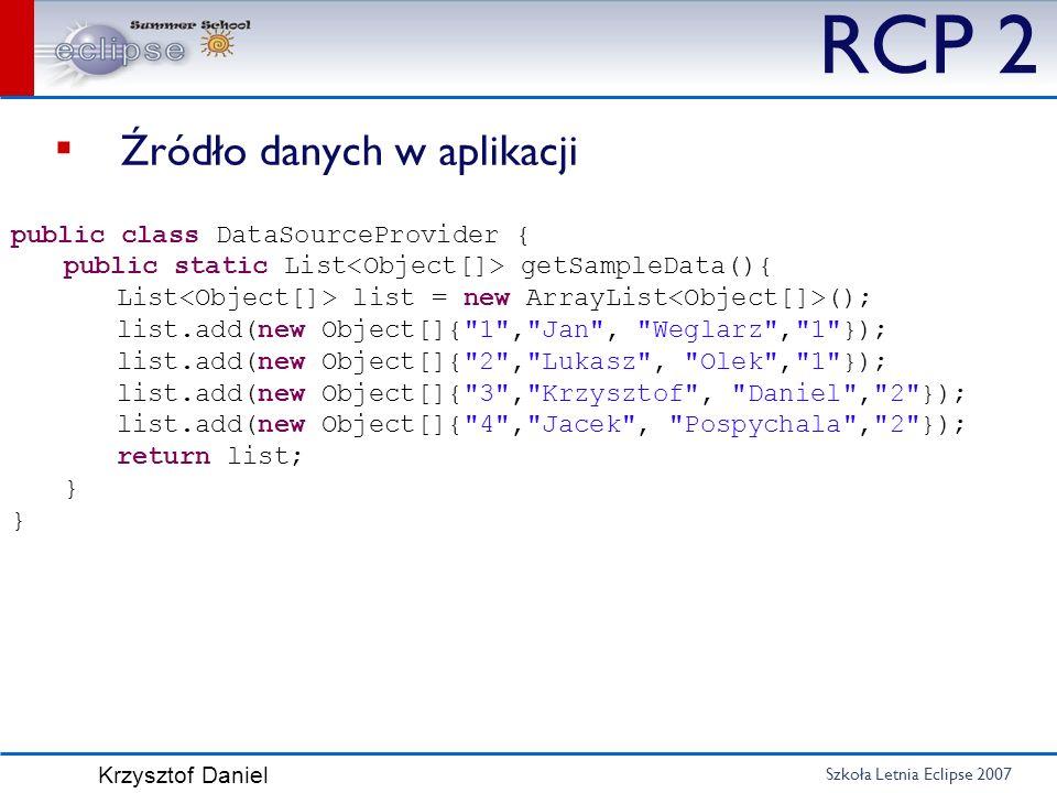 Szkoła Letnia Eclipse 2007 Krzysztof Daniel RCP 2 Źródło danych w aplikacji public class DataSourceProvider { public static List getSampleData(){ List