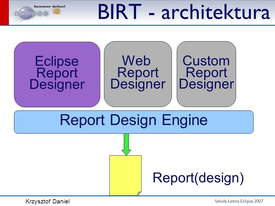 Szkoła Letnia Eclipse 2007 Krzysztof Daniel BIRT - architektura Report Design Engine Eclipse Report Designer Web Report Designer Custom Report Designe