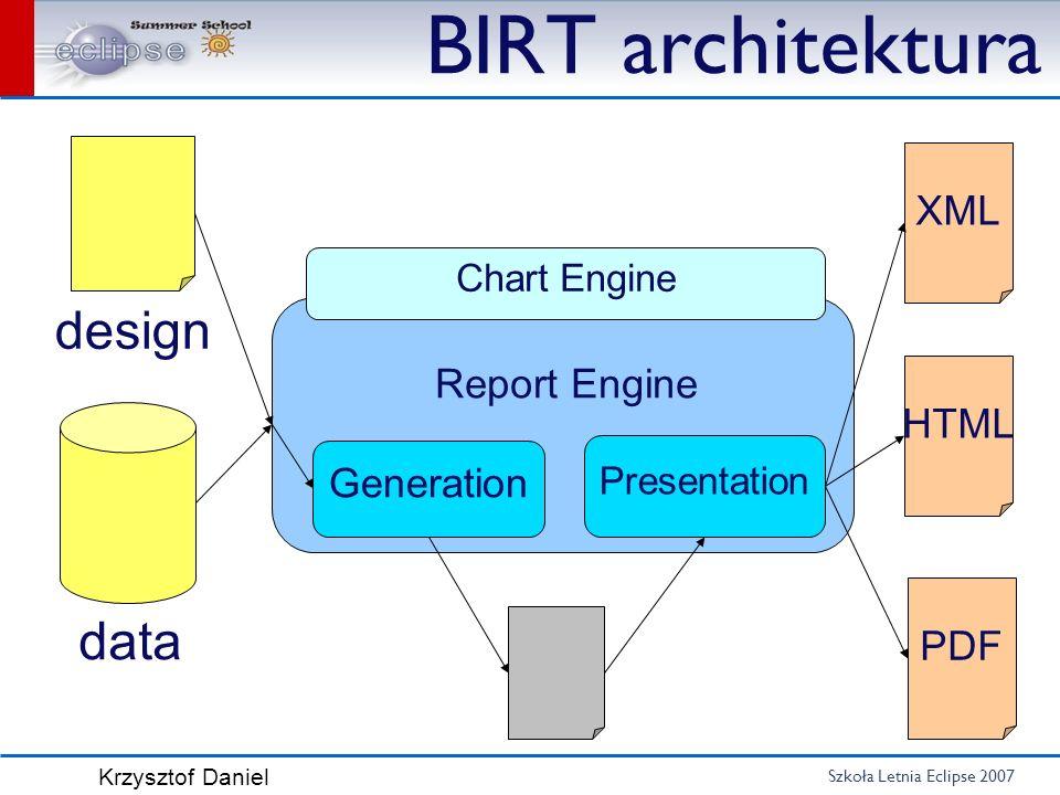 Szkoła Letnia Eclipse 2007 Krzysztof Daniel BIRT architektura design data XML HTML PDF Generation Presentation Report Engine Chart Engine