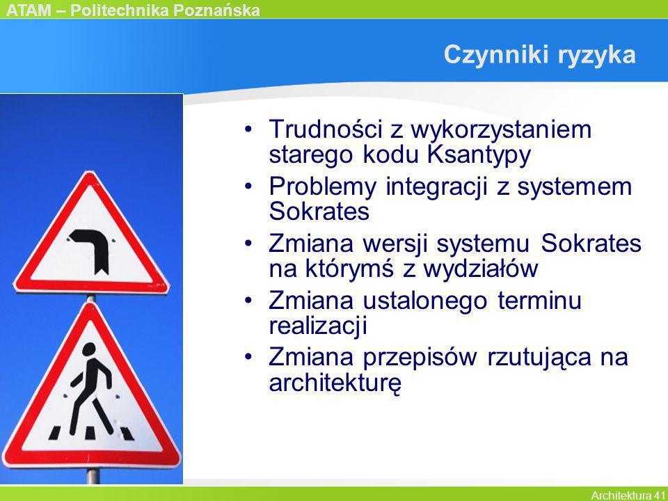 ATAM – Politechnika Poznańska Architektura 41 Czynniki ryzyka Trudności z wykorzystaniem starego kodu Ksantypy Problemy integracji z systemem Sokrates
