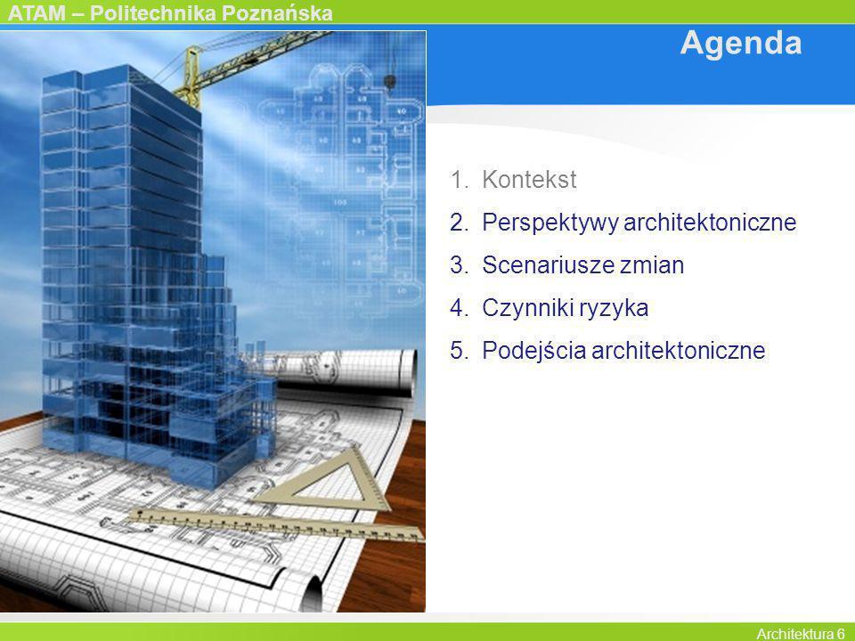 ATAM – Politechnika Poznańska Architektura 6 Agenda 1.Kontekst 2.Perspektywy architektoniczne 3.Scenariusze zmian 4.Czynniki ryzyka 5.Podejścia archit
