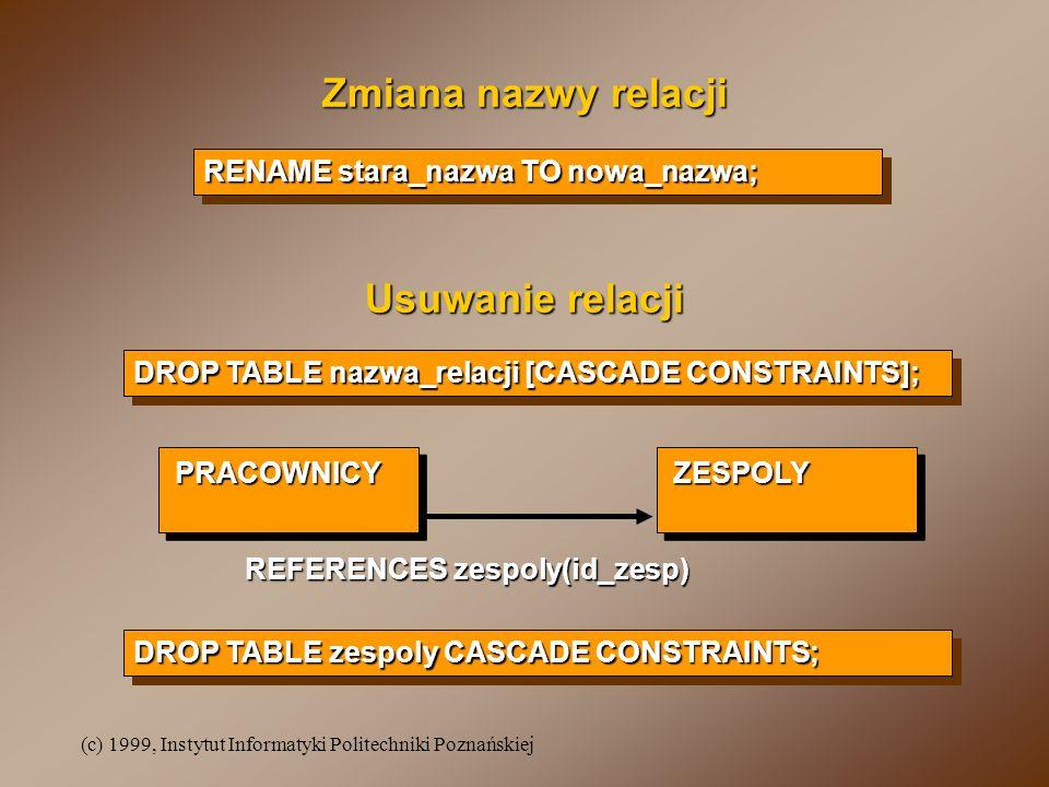 (c) 1999, Instytut Informatyki Politechniki Poznańskiej Zmiana nazwy relacji RENAME stara_nazwa TO nowa_nazwa; Usuwanie relacji DROP TABLE nazwa_relacji [CASCADE CONSTRAINTS]; PRACOWNICYZESPOLY REFERENCES zespoly(id_zesp) DROP TABLE zespoly CASCADE CONSTRAINTS;
