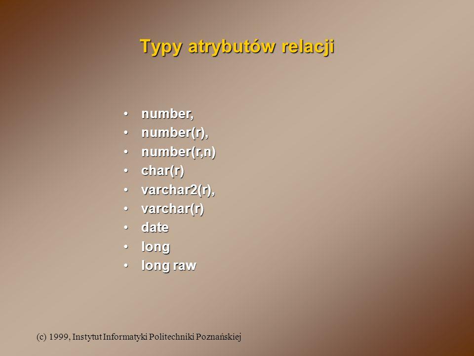 (c) 1999, Instytut Informatyki Politechniki Poznańskiej Typy atrybutów relacji number,number, number(r),number(r), number(r,n)number(r,n) char(r)char(r) varchar2(r),varchar2(r), varchar(r)varchar(r) datedate longlong long rawlong raw