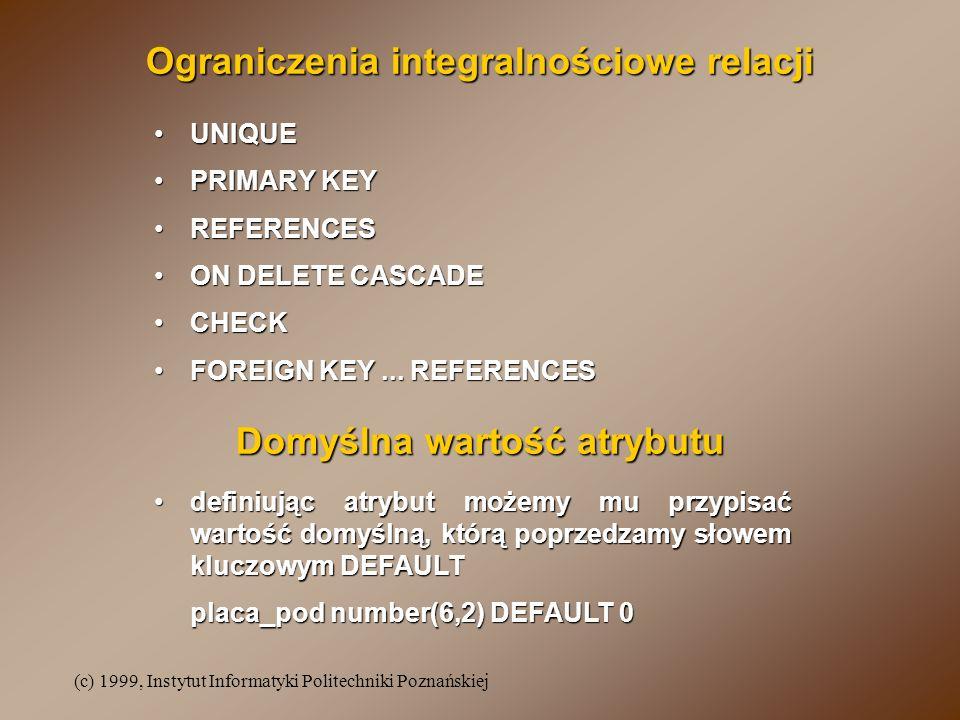 (c) 1999, Instytut Informatyki Politechniki Poznańskiej UNIQUEUNIQUE PRIMARY KEYPRIMARY KEY REFERENCESREFERENCES ON DELETE CASCADEON DELETE CASCADE CHECKCHECK FOREIGN KEY...