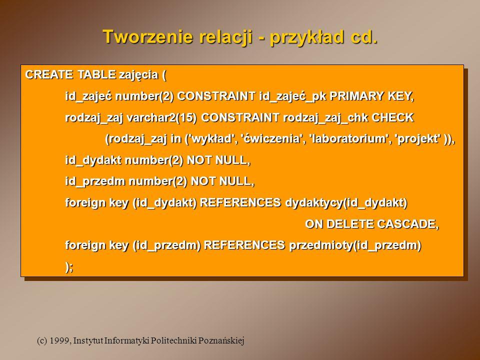 (c) 1999, Instytut Informatyki Politechniki Poznańskiej CREATE TABLE zajęcia ( id_zajeć number(2) CONSTRAINT id_zajeć_pk PRIMARY KEY, rodzaj_zaj varchar2(15) CONSTRAINT rodzaj_zaj_chk CHECK (rodzaj_zaj in ( wykład , ćwiczenia , laboratorium , projekt )), id_dydakt number(2) NOT NULL, id_przedm number(2) NOT NULL, foreign key (id_dydakt) REFERENCES dydaktycy(id_dydakt) ON DELETE CASCADE, foreign key (id_przedm) REFERENCES przedmioty(id_przedm) ); CREATE TABLE zajęcia ( id_zajeć number(2) CONSTRAINT id_zajeć_pk PRIMARY KEY, rodzaj_zaj varchar2(15) CONSTRAINT rodzaj_zaj_chk CHECK (rodzaj_zaj in ( wykład , ćwiczenia , laboratorium , projekt )), id_dydakt number(2) NOT NULL, id_przedm number(2) NOT NULL, foreign key (id_dydakt) REFERENCES dydaktycy(id_dydakt) ON DELETE CASCADE, foreign key (id_przedm) REFERENCES przedmioty(id_przedm) ); Tworzenie relacji - przykład cd.