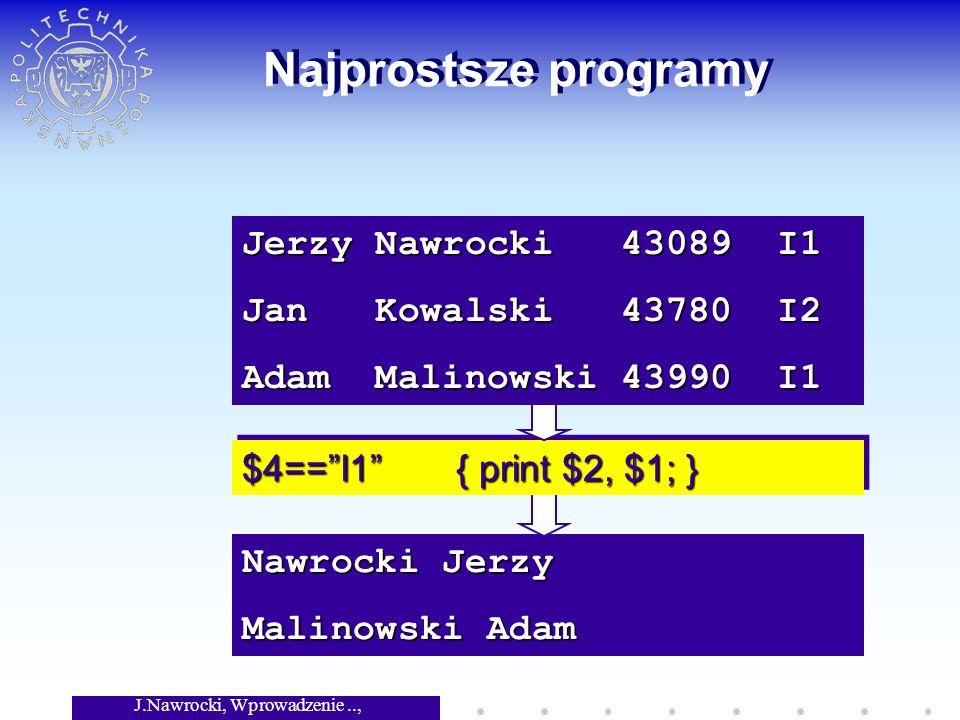 J.Nawrocki, Wprowadzenie.., Wykład 3 Najprostsze programy Nawrocki Jerzy Malinowski Adam $4==I1 { print $2, $1; } Jerzy Nawrocki 43089 I1 Jan Kowalski 43780 I2 Adam Malinowski 43990 I1