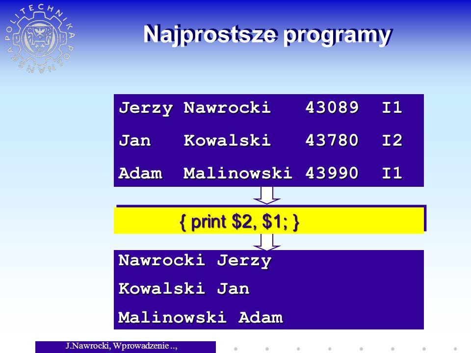 J.Nawrocki, Wprowadzenie.., Wykład 3 Nawrocki Jerzy Kowalski Jan Malinowski Adam Najprostsze programy { print $2, $1; } { print $2, $1; } Jerzy Nawroc