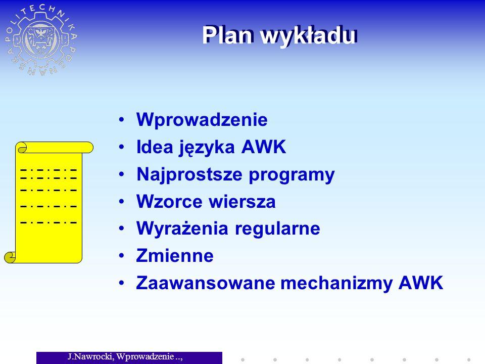 J.Nawrocki, Wprowadzenie.., Wykład 3 Plan wykładu Wprowadzenie Idea języka AWK Najprostsze programy Wzorce wiersza Wyrażenia regularne Zmienne Zaawans