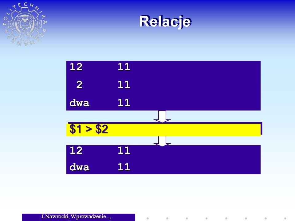 J.Nawrocki, Wprowadzenie.., Wykład 3 12 11 dwa 11 Relacje $1 > $2 12 11 2 11 2 11 dwa 11