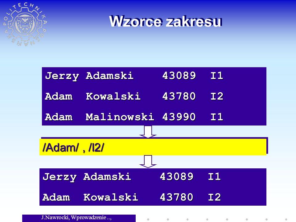 J.Nawrocki, Wprowadzenie.., Wykład 3 Wzorce zakresu Jerzy Adamski 43089 I1 Adam Kowalski 43780 I2 Adam Malinowski 43990 I1 /Adam/, /I2/ Jerzy Adamski 43089 I1 Adam Kowalski 43780 I2
