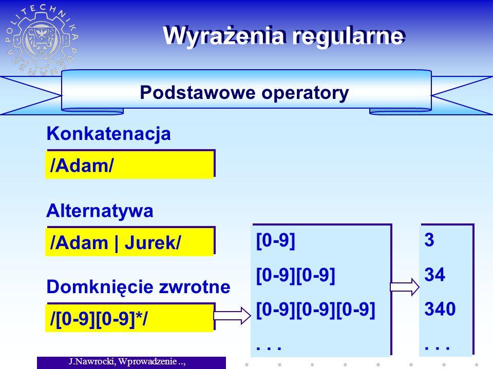J.Nawrocki, Wprowadzenie.., Wykład 3 Wyrażenia regularne Podstawowe operatory /Adam/ Konkatenacja /Adam | Jurek/ Alternatywa /[0-9][0-9]*/ Domknięcie zwrotne [0-9] [0-9][0-9] [0-9][0-9][0-9]...