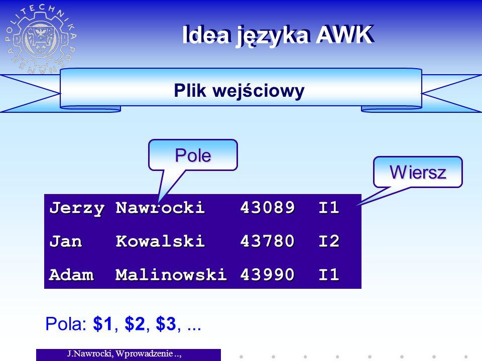 J.Nawrocki, Wprowadzenie.., Wykład 3 Nawrocki Jerzy Kowalski Jan Malinowski Adam Najprostsze programy # Nazwiska studentow { printf( %-15s %-9s\n , $2, $1) } { printf( %-15s %-9s\n , $2, $1) } # Nazwiska studentow { printf( %-15s %-9s\n , $2, $1) } { printf( %-15s %-9s\n , $2, $1) } Jerzy Nawrocki 43089 I1 Jan Kowalski 43780 I2 Adam Malinowski 43990 I1