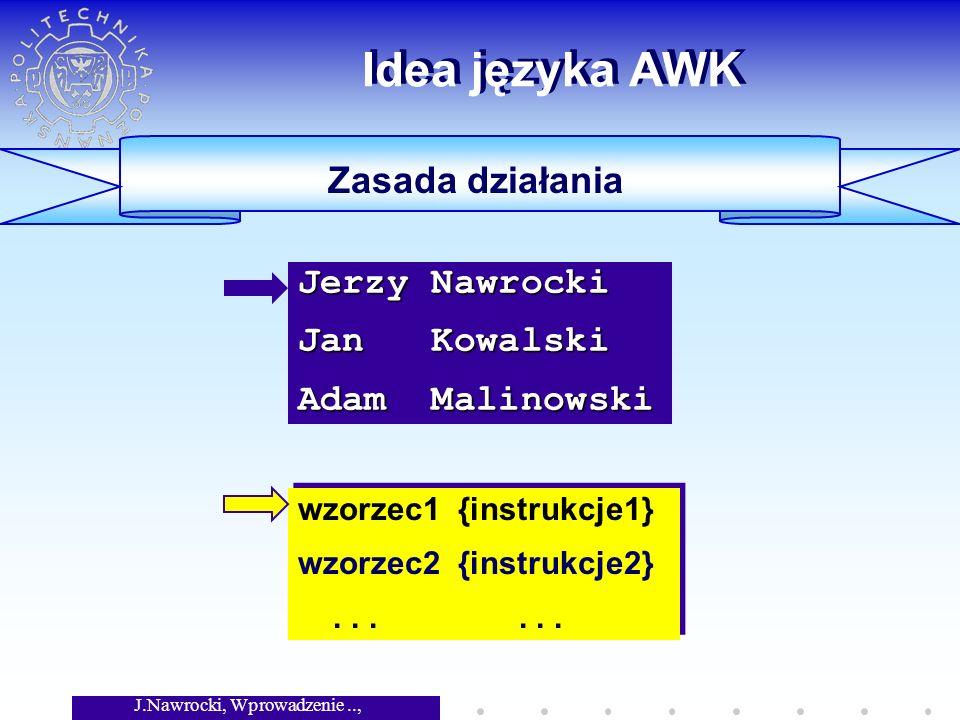 J.Nawrocki, Wprowadzenie.., Wykład 3 ----- Kowalski Jan ***** Początek i koniec tekstu BEGIN { print -----; } $4==I2 { print $2, $1; } END { print *****; } BEGIN { print -----; } $4==I2 { print $2, $1; } END { print *****; } Jerzy Nawrocki 43089 I1 Jan Kowalski 43780 I2 Adam Malinowski 43990 I1
