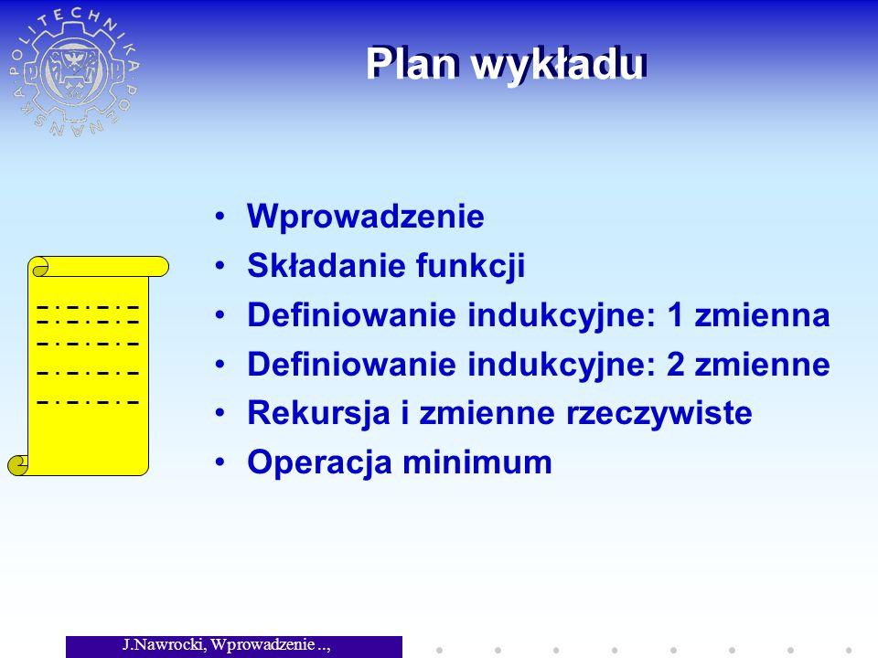 J.Nawrocki, Wprowadzenie.., Wykład 4 Plan wykładu Wprowadzenie Składanie funkcji Definiowanie indukcyjne: 1 zmienna Definiowanie indukcyjne: 2 zmienne Rekursja i zmienne rzeczywiste Operacja minimum