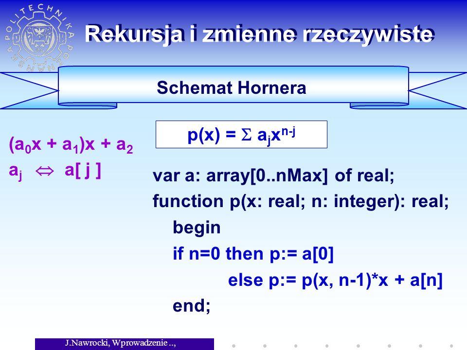 J.Nawrocki, Wprowadzenie.., Wykład 4 Rekursja i zmienne rzeczywiste (a 0 x + a 1 )x + a 2 a j a[ j ] Schemat Hornera var a: array[0..nMax] of real; fu