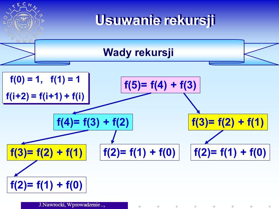J.Nawrocki, Wprowadzenie.., Wykład 4 Usuwanie rekursji Wady rekursji f(0) = 1, f(1) = 1 f(i+2) = f(i+1) + f(i) f(0) = 1, f(1) = 1 f(i+2) = f(i+1) + f(