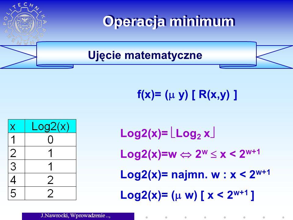 J.Nawrocki, Wprowadzenie.., Wykład 4 Operacja minimum Log2(x)= Log 2 x Log2(x)=w 2 w x < 2 w+1 Log2(x)= najmn. w : x < 2 w+1 Log2(x)= ( w) [ x < 2 w+1