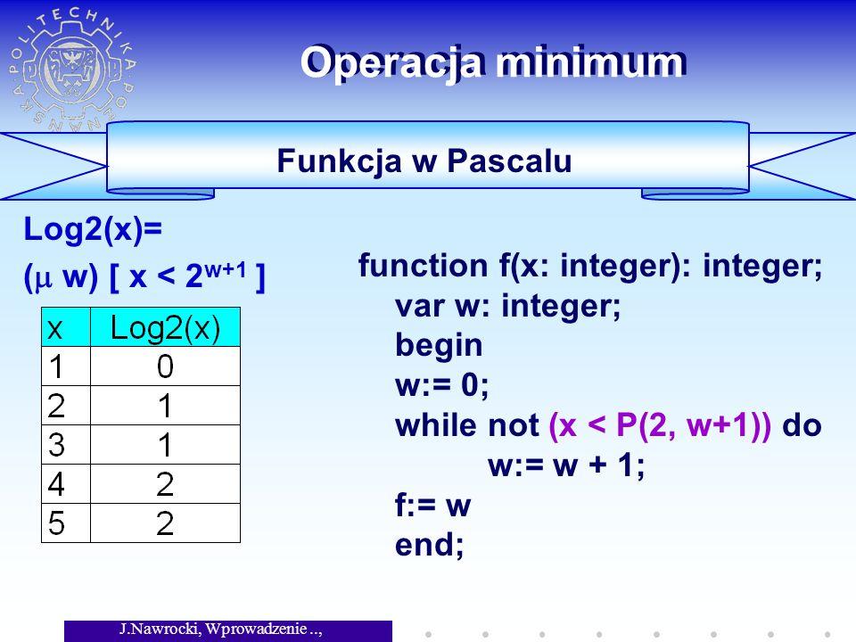 J.Nawrocki, Wprowadzenie.., Wykład 4 Operacja minimum Log2(x)= ( w) [ x < 2 w+1 ] Funkcja w Pascalu function f(x: integer): integer; var w: integer; b